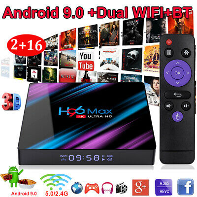H96 MAX RK3318 Quad Core Android 9.0 OS 2+16G Smart TV BOX Dual WIFI 3D HDMI2.0