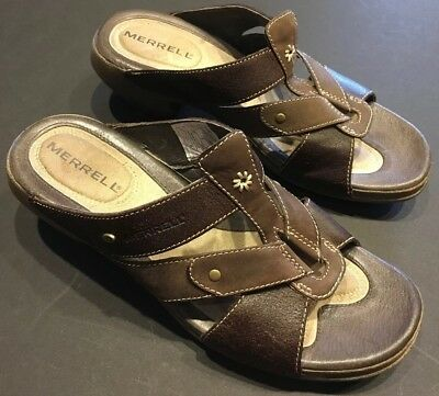 fcb517f2bf54 Merrell Women s Brown Leather Sandals With Heel Luxe Slide Coffee Size 7  EPOC!