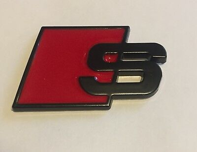 S-Line Audi Sports Metal S Boot Black Matte Badge A3 A4 S3 A6 A8 S S4 S8 RS3 RS4