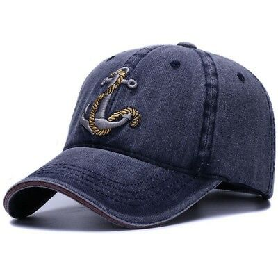 Baseball Cap Anchor 3D Embroidery Washed Soft Cotton Hat Women Men Vintage Dad