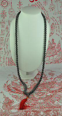 Black Leklai Necklace Thai STONES Metal Charms Amulet jewelry Prayer Bead Mala