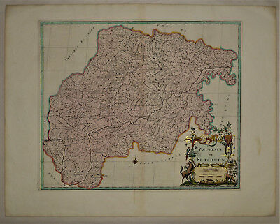 1737 Genuine Antique map China Province, de Se-Tchuen, exquisite. by D'Anville