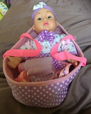 Soft Bodied Doll With Pretty Clothes, Bottle, Bib
