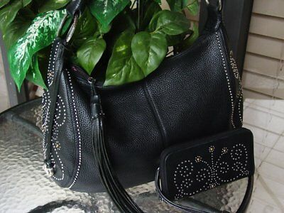 RARE BRIGHTON Black BREEZE XL Ziptop Handbag w/matching CITY LIGHTS Wallet