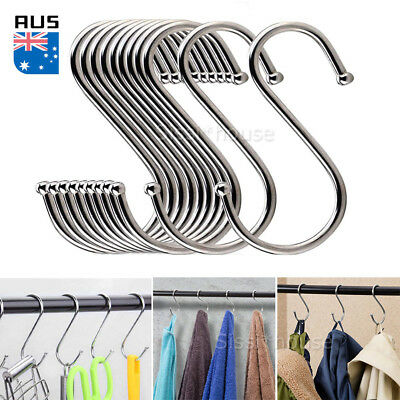 20X Stainless Steel S Shape Hooks Kitchen Hanger Rack Clothes Hanging Holders A