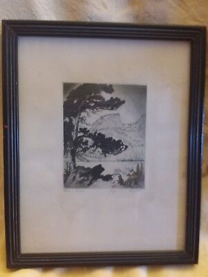 """Bear Lake"" etching by Lyman Byxbe"