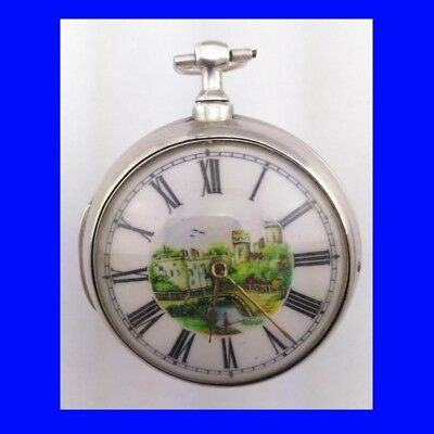 Georgian Silver Verge Fusee London Polychrome Pair Case Pocket Watch 1814