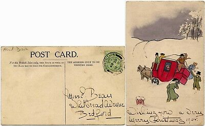 GB 1905 HAND DRAWN +PAINTED CARD MAIL COACH in SNOW CHRISTMAS EVE LONG EATON PMK
