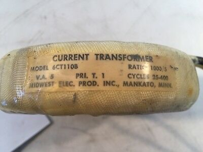 Midwest Current Transformer Model 6CT110B Ratio 1000/5 VA5 PRIt.1 cycle 25-400