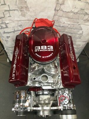383 STROKER CRATE ENGINE 525hp SBC WITH A/C ROLLER TURN KEY motor 350 383 383