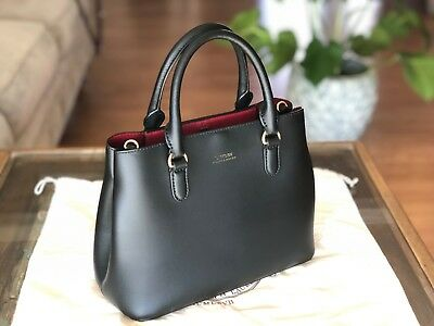 LAUREN RALPH LAUREN Dryden Marcy Leather Tote - Black Red -  135.00 ... cfa71a14e88a5