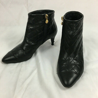 6d983389fafb Chanel Quilted Ankle Boots Booties Kitten Heel Camellia Zip Black Size 38  US 7.5