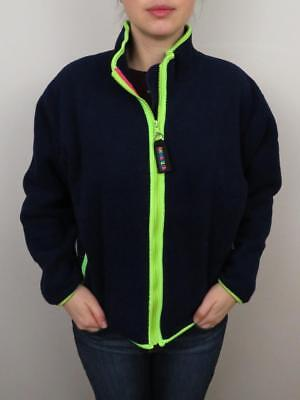 The North Face Womens Fleece Jacket Large Vintage Full Zip Neon Blue Green Coat