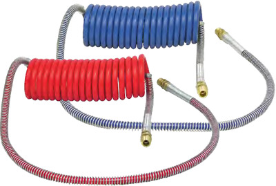 "Air Brake Hose, 15 ft.  40"" lead Coiled Nylon Tubing Assembly Red and Blue Set"