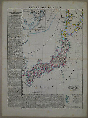 1847 Genuine Antique map Japan, Impero del Giappone. Lovely. B. Marzolla