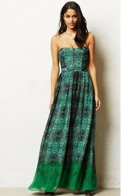d2c12ab74ee2 NEW NWT MOULINETTE SOEURS VERNALIS STRAPLESS GREEN DRESS ANTHROPOLOGIE 6  Size 6