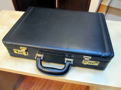 "Black Leather Briefcase Men Attache Case Expandable 4 to 5"", Combination Locks"