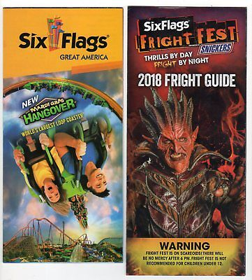 Six Flags Great America 2018 Park Map Brochure 2018 Fright Guide