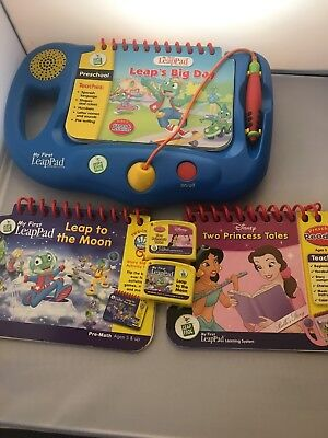 Leap Frog My First Leap Pad in Blue with 3 Books & 2 Cartridges Lot