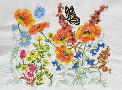 Sunshine Garden HAND-STITCHED Finished Unframed Embroidery Needlework Flowers