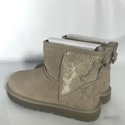bffe80f09bd UGG CLASSIC MINI Metallic Snake Gold Suede Boots Size US 7 Womens