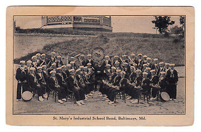 1920-21 Babe Ruth Band St. Mary's Industrial Boys School RARE RPPC AD Postcard