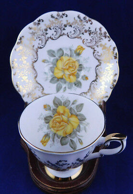 Royal Standard Footed Teacup & Saucer Yellow & Gold Scrolls Pink Rose Scalloped