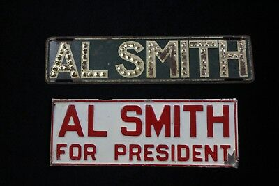2 Antique c. 1928 Alfred Smith Political Embossed License Plates