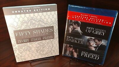 Fifty Shades: 3-Movie Collection (Blu-ray Digital, 2018)w/Slipcover-NEW-Free S&H