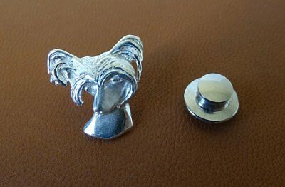 Sterling Silver Chinese Crested Head Study Lapel Pin