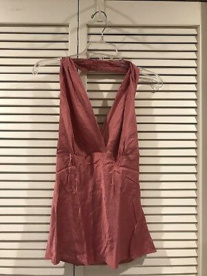 ac51ecc2a45fb6 Express Women s Pink Silk Patterned Sleeveless Halter Tank Top Blouse Size L