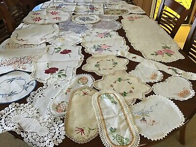 Vintage Embroidered Doilies X 25 Most Hand Embroidered With Crochet Edging.