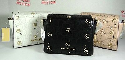 72c37bcf0a44 MICHAEL KORS SOFIA Small Stud Flower Crossbody Leather Mini Bag ...