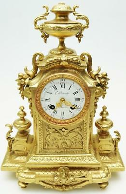 Antique French Gilt Mantel Clock - Bell Striking Japy Freres Mantle Clock C1860