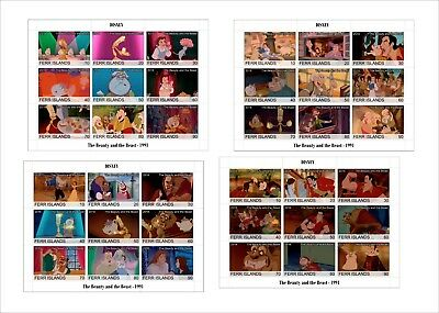 2018 Disney The Beauty and the Beast 4 SOUVENIR SHEETS animation cartoons