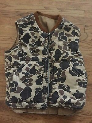 Vintage Walls Vest Blizzard Pruf Size L Reversible Duck  Camo Heavy Duty Hunting