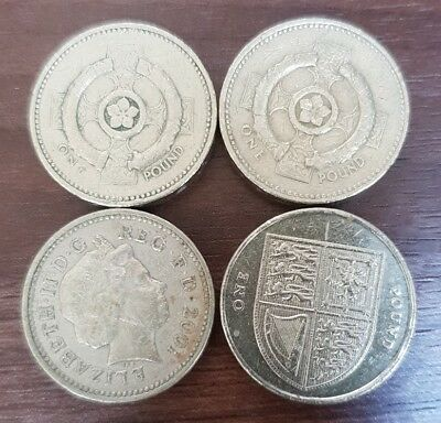 Set of Four £1 English Pound Coins - Ireland 1996 2001 England 2014