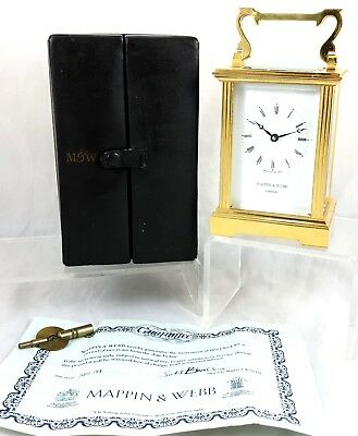 Stunning Cased Mappin & Webb Brass Carriage Clock With Certificate ** Working **