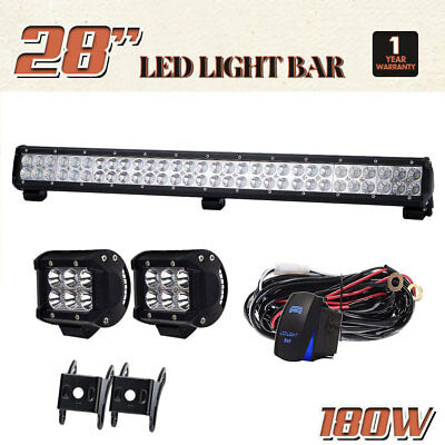 "28"" 180W LED Work Light Bar Flood Spot Beam + 4"" 18W Pods Cube For Ford Offroad"