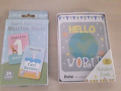 Hello World 24 Milestone Cards Baby Shower Party 1st Year Memorable Moments