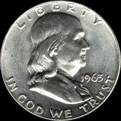 """A 1963 D Franklin Half Dollar 90% SILVER US Mint """"About Uncirculated"""""""