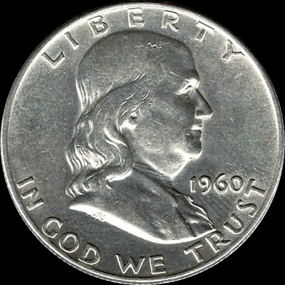 """A 1960 P Franklin Half Dollar 90% SILVER US Mint """"About Uncirculated"""""""