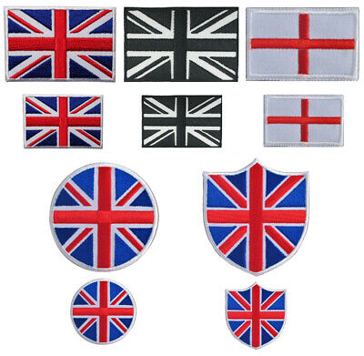 Union Jack and England Flat Iron On / Sew On Embroidered Patch Badge Transfer