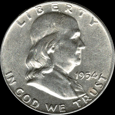 "A 1954 P Franklin Half Dollar 90% SILVER US Mint ""About Uncirculated"""