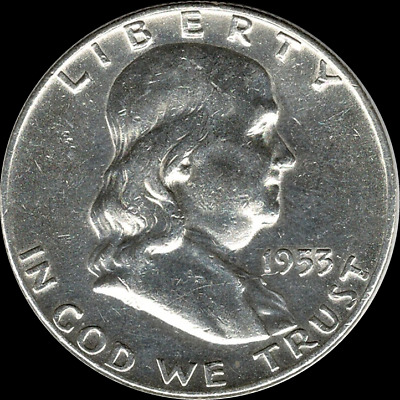 """A 1953 P Franklin Half Dollar 90% SILVER US Mint """"About Uncirculated"""""""