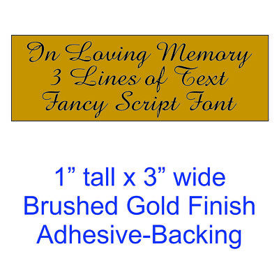 Custom Engraved 1x3 Brushed Gold Tag Sign Plate | Personalized Memory Script
