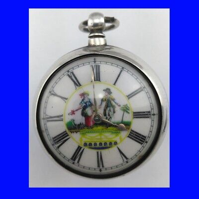 Georgian Silver Verge Fusee Coventry Polychrome Pair Case Pocket Watch 1812