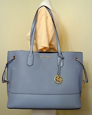 aead245efea9c9 Michael Kors Trista Large Drawstring Leather Tote Bag in Pale Blue