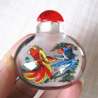 Chinese Exquisite Handmade horse pattern Glass snuff bottle 44g.