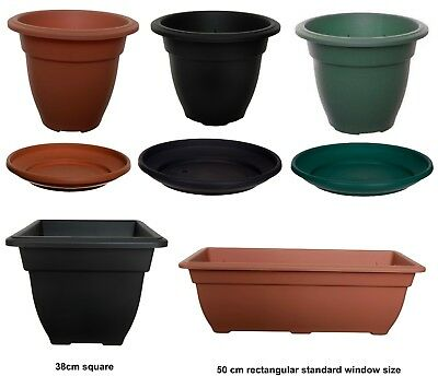 Plastic Round Square Rectangular Plant Flower Pot Pots Planter Container Grow